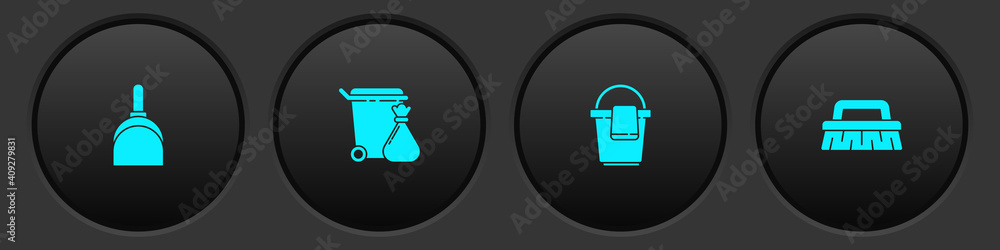 Fototapeta Set Dustpan, Trash can and garbage bag, Bucket with rag and Brush for cleaning icon. Vector.