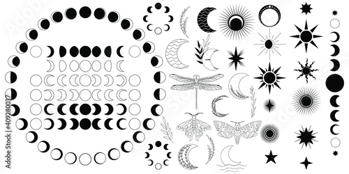 Obraz Big vector set of celestial ellements. Moon phases, stars and sun, butterfly, dragonfly, lunar and death head moth, plants. Moon phases for both Northern and South hemisphere. Isolated black icons. - fototapety do salonu