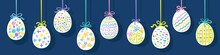 Happy Easter! Nine Easter Eggs Hanging On The Colorful Strings. Decorative Poster, Postcard Or Banner. Isolated On Dark Blue Background. Vector Flat Illustration.