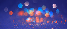 Beautiful Abstract Blue Orange Bokeh Background. Colored Lights Blurred