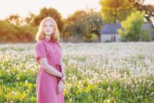 Beautiful Teenager Girl In Background Spring Meadow