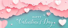 Happy Valentines Day Greeting Background In Papercut Realistic Style. Paper Hearts, Clouds And Pearls On String. Pink Love Banner Party Invitation Template. Calligraphy Words Text Sign On Copy Space