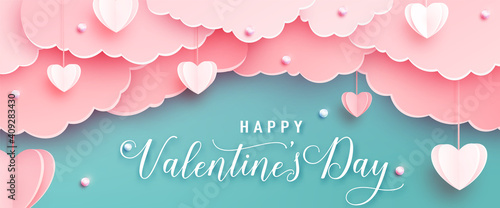 Obraz Happy valentines day greeting background in papercut realistic style. Paper hearts, clouds and pearls on string. Pink love banner party invitation template. Calligraphy words text sign on copy space - fototapety do salonu