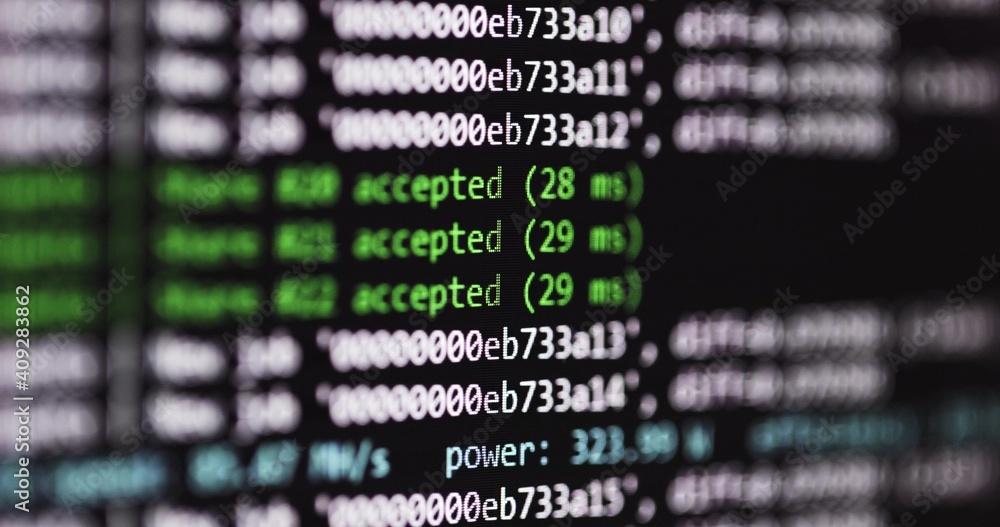 Fototapeta Bitcoin mining program at work closeup footage