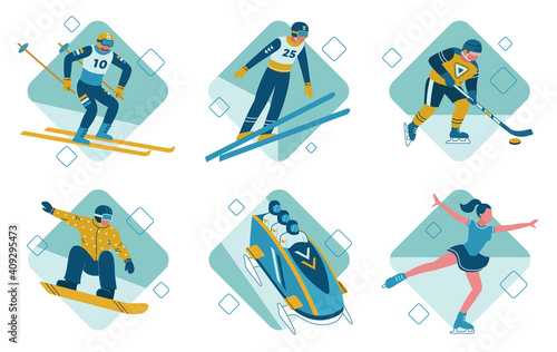 Fotografie, Tablou The winter sports vector illustrations set bobsleigh