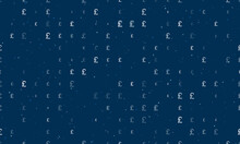 Seamless Background Pattern Of Evenly Spaced White Pound Symbols Of Different Sizes And Opacity. Vector Illustration On Dark Blue Background With Stars