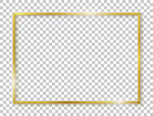 Gold Rectangle Border. Gold Frame Boarder. Golden Vintage Border. Shiny Glowing Realistic Rectangle Boarder Isolated On Background. Luxury Golden Frame. Design Rectangular Frame With Shadow. Vector