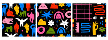 Hand Drawn Various Shapes, Doodle Objects, Abstract People. Contemporary Modern Trendy Vector Illustrations. Set Of Three Repeating Square Seamless Pattern. Colorful Backgrounds. Dark Wallpapers