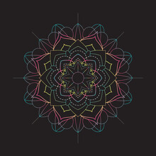Bright Blossom Mandala With Pink, Blue, And Yellow Gradient Colors