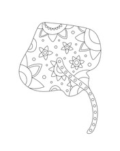 Tribal Decorative Stingray. Isolated Animal On Transparent Background. Zentangle Style.