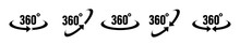 360 Degrees Vector Icon. Round Signs With Arrows Rotation To 360 Degrees. Rotate Symbol Isolated In White Background. Vector Illustration EPS 10.