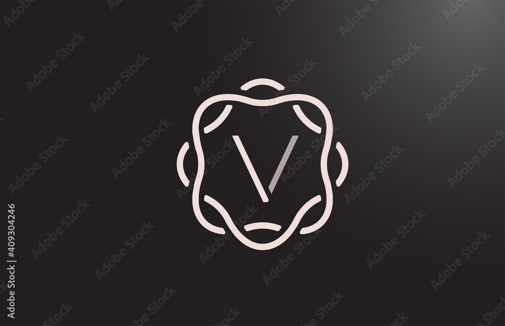 Fototapeta V alphabet letter logo for business and company in black and white. Branding for corporate identity with floral monogram pattern. Creative lettering icon for design