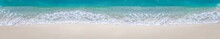 Sea Waves With Foam On White Tropical Beach. Long Banner.
