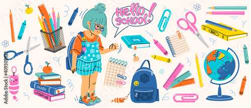 Obraz Big set of school supplies. Hello school lettering. Little cute girl is going to study. Children's subjects for study. Vector illustration in a flat style on a white background. All objects are isolat - fototapety do salonu