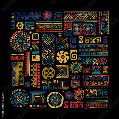 Fotografie, Obraz Ethnic handmade ornament for your design