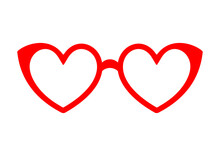 Glasses Red Heart Icon. Symbol Of Love Concept. Vector Illustration