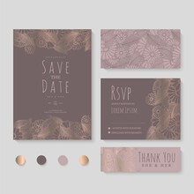 Vector Illustration Set Of Hand Drawn Flowers Cards For Wedding