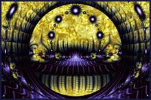 Abstract Purple And Yellow Kaleidoscope Pattern