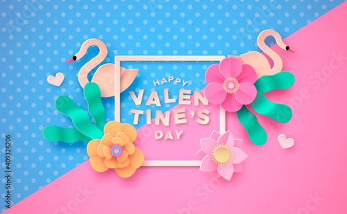 Obraz na płótnie Valentine's Day pink paper cut flower swan card