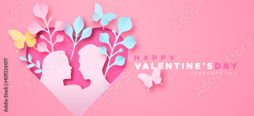 Valentine's Day pink paper cut heart love card Fototapeta