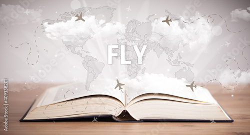 Fototapety, obrazy: Open book with FLY inscription, vacation concept