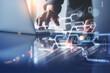 Leinwanddruck Bild - Financial technology, digital banking, online payment concept