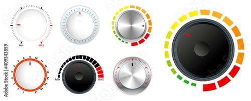 Obraz set of plastic volume knob or realistic metallic control knob or round dial regulator knob concept. eps 10 vector, easy to modify - fototapety do salonu