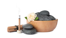 Composition With Smoldering Incense Stick, Rose And Spa Stones On White Background