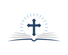 Christian Cross Symbol On The Open Book Page