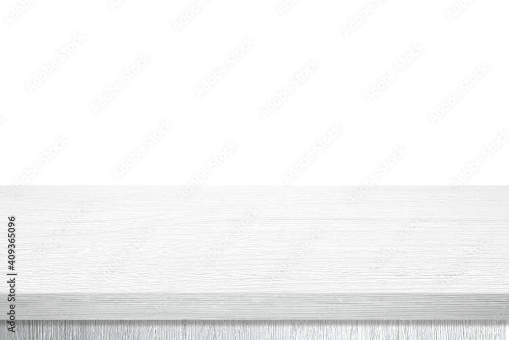 Obraz Empty white wooden table top, desk isolated on white background, Wood table surface for product display background, White counter, shelf  for food display banner, backdrop fototapeta, plakat