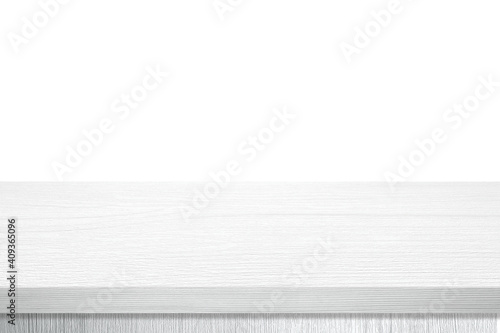 Fototapeta Empty white wooden table top, desk isolated on white background, Wood table surface for product display background, White counter, shelf  for food display banner, backdrop obraz