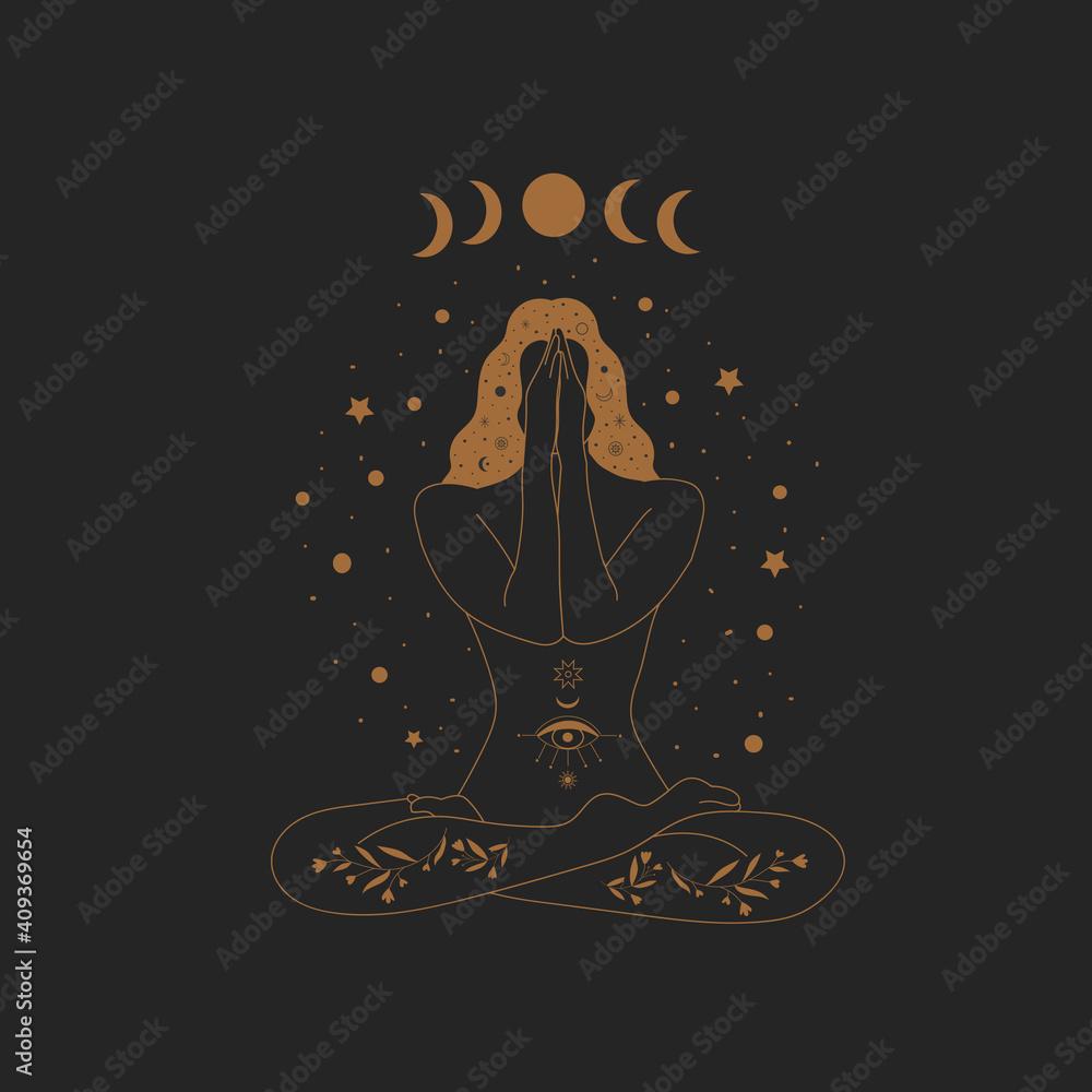 Sacred Witch/magic woman and mystical Symbols. Flat vector illustration. Ornament beautiful girl in a yoga pose. Lotus meditation. International yoga day card. Vector illustration. - obrazy, fototapety, plakaty