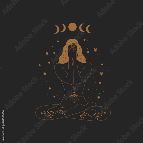 Fototapeta Sacred Witch/magic woman and mystical Symbols. Flat vector illustration. Ornament beautiful girl in a yoga pose. Lotus meditation. International yoga day card. Vector illustration. obraz