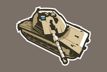 Modern Israeli Main Battle Tank Vector Illustration