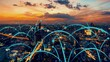 canvas print picture - Smart digital city with globalization abstract graphic showing connection network . Concept of future 5G smart wireless digital city and social media networking systems .