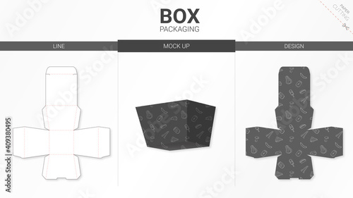 Box packaging and mockup die cut template Fototapet