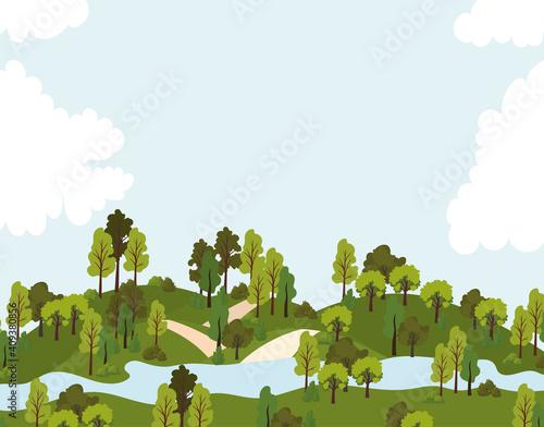 Slika na platnu park with roads, trees and one river
