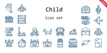 Child Icon Set. Line Icon Style. Child Related Icons Such As Bed, Shower, Castle, Balloon Modelling, Air Hockey, Cupid, Robot, Sticks, Spellbook, Roller Coaster, School, Baby, Abacus, School