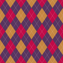 Argyle Pattern Bright In Purple, Yellow, Pink. Halloween Geometric Vector Argyll Background For Gift Wrapping, Socks, Sweater, Jumper, Or Other Modern Autumn Winter Classic Fashion Textile Print.