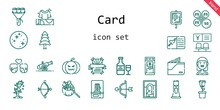 Card Icon Set. Line Icon Style. Card Related Icons Such As Bride, Gift, Parking, Couple, Wallet, Pine, Mercury, Cannon, Tree, Bouquet, Photo Camera, Petals, Picture, Cupid, Milkshake, Bank
