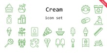 Cream Icon Set. Line Icon Style. Cream Related Icons Such As Soup, Scoop, Foam, Milk, Cream, Sauce, Popsicle, Cake Pop, Ice Cream, Tubes, Donut, Sweet, Soap, Chocolate,