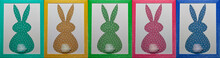 Collage 5 Easter Colorful Bunny Craft Paper Applique In  Colorful Photo Frames On A White Background. Top View. Happy Easter Day Concept. Banner. Easter Card.