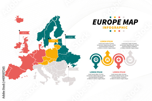 Europe map infographics vector presentation template