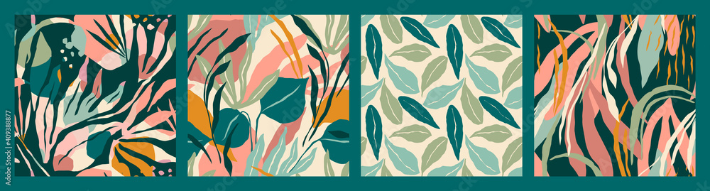 Fototapeta Abstract collection of seamless patterns with tropiclal leaves . Vector design