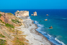 Mediterranean Sea. View From The Shore On The Rock Of Aphrodite. Coast Of Cyprus. Petra Tou Romiou. Pathos. Kuklia. The Beaches In Cyprus. Coast Of The Republic Of Cyprus. Seascape.