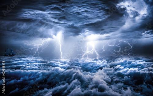 Fotografía storm over the sea