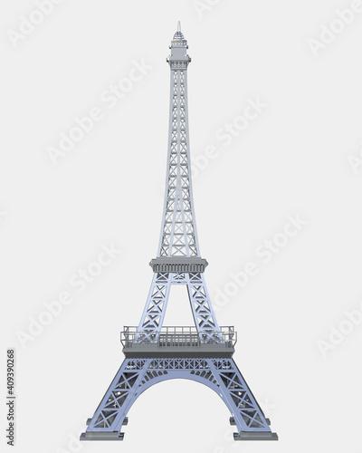 Vászonkép Eiffel tower isolated on background. 3d rendering - illustration