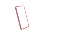 Mobile Phone Pink Edge With White Blank Screen Empty For Copy Space 3D Rendering