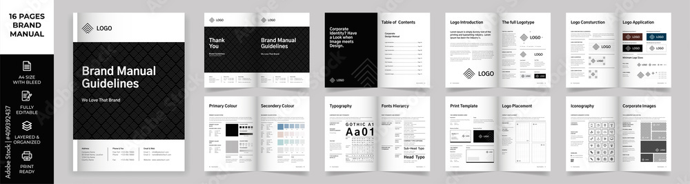 Fototapeta Brand Manual Template, Simple style and modern layout Brand Style , Brand Book, Brand Identity, Brand Guideline, Guide Book