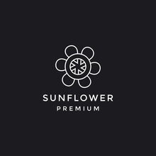 Sunflower In Flat Style Vector Isolated Black And White Backround